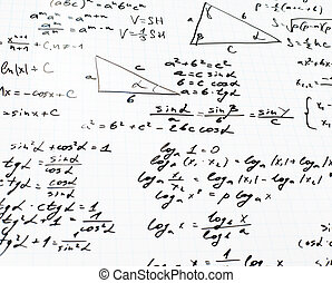 Squared sheet of paper filled with trigonometry math equations and formulas as a background composition