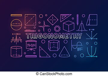 Trigonometry vector colorful banner or illustration in thin...