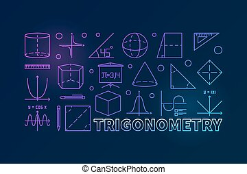 Trigonometry vector colorful illustration or banner -...