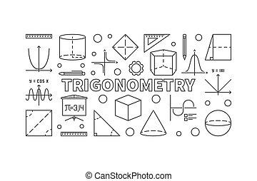 Trigonometry vector horizontal illustration - Trigonometry...