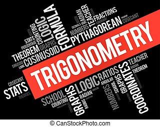 Trigonometry word cloud collage, education concept...