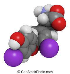 triiodothyronin hormone molecule, chemical structure