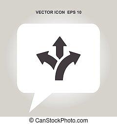 trilaterale, direzione, vettore, icona freccia