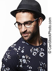 Trilby hat man in floral t-shirt