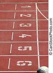 trilha raça, em, um, estádio
