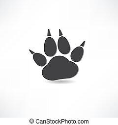 trilhas, animal, ícone