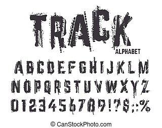 trilhas, car, alphabet., textura, grunge, lettering, isolado, letras, vetorial, passos, números, tipografia, abc, pneu, roda, símbolos, jogo