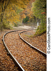 trilhas estrada ferro, em, outono