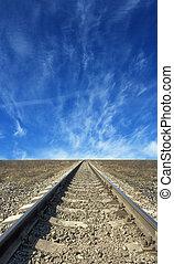 trilhas estrada ferro, para, nenhuma parte