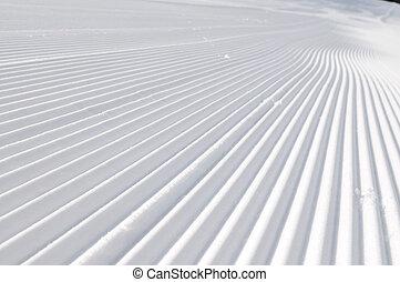 trilhas, ligado, esqui inclina, em, bonito, ensolarado, inverno, dia