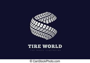 trilhas, pneu, sinal