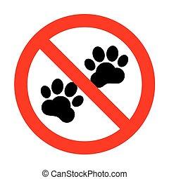 trilhas, sinal., animal, não
