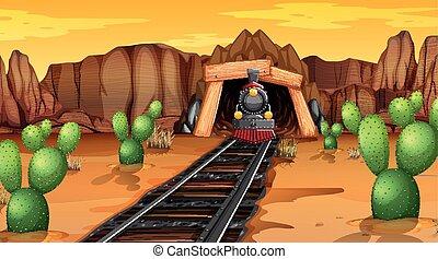 trilhas, trem, deserto