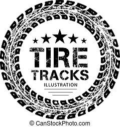trilhas, vetorial, pneu