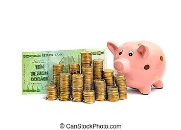 trillion, conto, dollaro, banca piggy