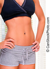 Trim Waistline - Beautiful Brunette Young Woman With A Trim...
