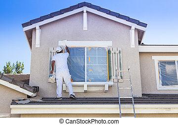 trimma, hus, stänger med fönsterluckor, hem, målning, målare