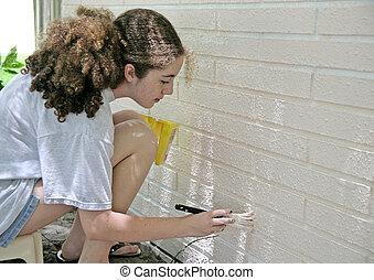 trimma, målning, hus, tonåring