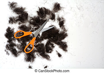 Trimmed hair on the floor with scissors.fashion concept copy...