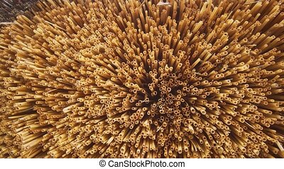 Trimmed Straw Ends of a Thatched Roof in Closeup - Evenly ...