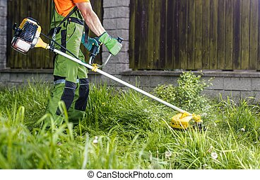 Trimming Grass with String