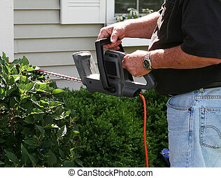 Man is trimming the bush in front of his house.