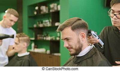 trims, client, jeune, salon coiffure, cheveux, sourire, ...