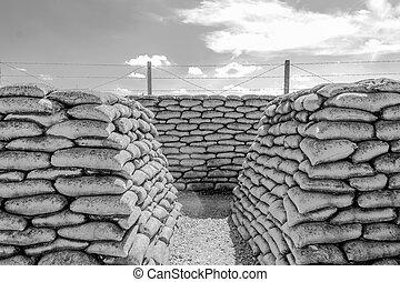 trincheira, de, mortos, mundo, guerra, 1, bélgica, flanders, campos
