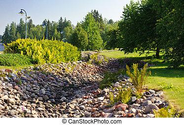 trincheira, pedra, parque