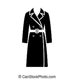 trinchera, mujer de negocios, icono