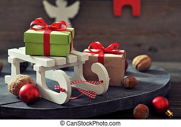 trineo, juguete, con, cajas del regalo
