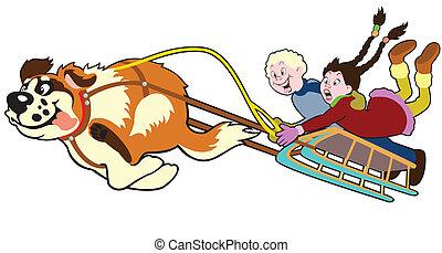 trineo, niños, perro, tirar