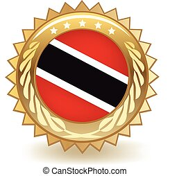 Trinidad And Tobago Badge - Gold badge with the flag of...