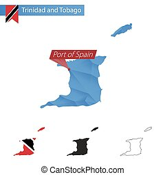 Trinidad and Tobago blue Low Poly map with capital Port of...