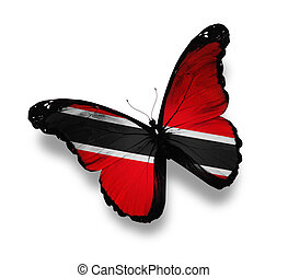 Trinidad and Tobago flag butterfly, isolated on white