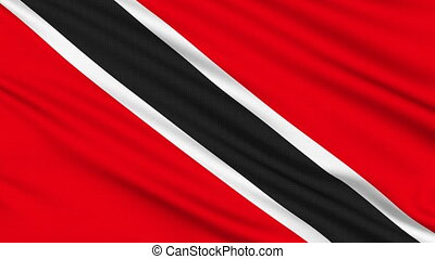 Trinidad and Tobago Flag, with real structure of a fabric