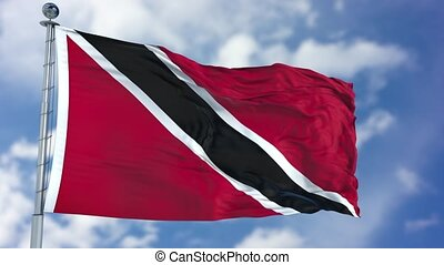 Trinidad and Tobago Flag in a Blue Sky. Use this clip loud...