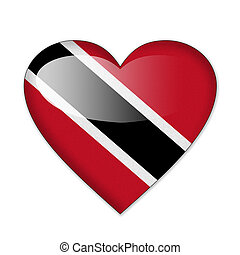 Trinidad and Tobago flag in heart shape isolated on white...