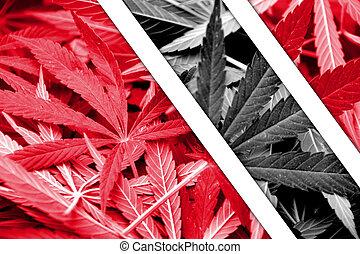 Trinidad and Tobago Flag on cannabis background. Drug policy...