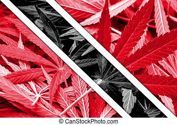 Trinidad and Tobago Flag on cannabis background. Drug...