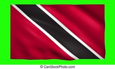 Trinidad and Tobago flag on green screen for chroma key