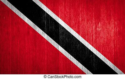 Trinidad and Tobago Flag on wood background