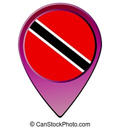 Trinidad and Tobago flag - Isolated map pin with the...