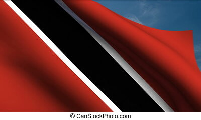 Trinidad and Tobago Flag waving in wind with clouds in...