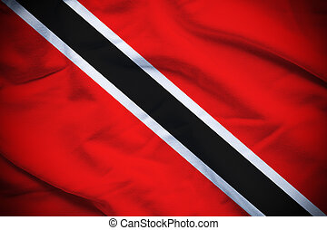 Wavy and rippled national flag of Trinidad and Tobago background.