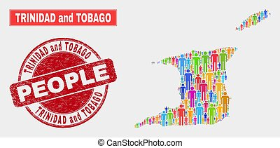 Trinidad and Tobago Map Population Demographics and Corroded...
