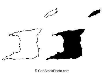 Trinidad and Tobago map vector illustration, scribble sketch Trinidad and Tobago