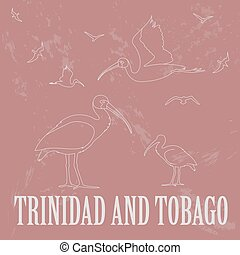 Trinidad and Tobago national symbols. Scarlet (red) ibis. ...
