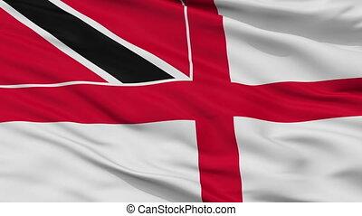 Trinidad And Tobago Naval Ensign Flag Closeup Seamless Loop...