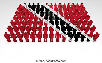 Trinidad And Tobago Parade - Parade of 3d people forming a...